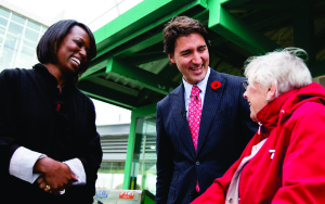 Celina Rayonne Caesar-Chavannes campaigns in Whitby with Liberal Leader and now PM Justin Trudeau.
