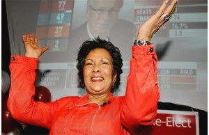 Hedy Fry celebrates winning again in Vancouver Centre.