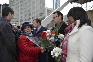 Mayor John Tory, centre at rear, is joined by France's Consul General Marc Trouyet and Ontario Associate Minister Mitzie Hunter, right, at last weekend's Nathan Phillips Square vigil for the Paris victims. Gerald V. Paul photo.