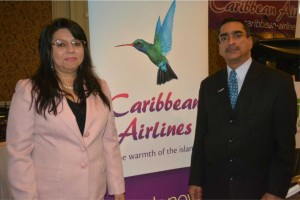 Caribbean Airlines' Valerie Murphy-Rahman, senior manager, reservations & commercial sales, with Nazie Mohammed, sales executive, Canada. Story,