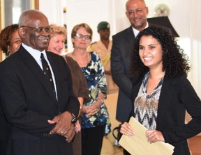 Student Zahra Gomes with the Rhodes Scholarship selection committee.