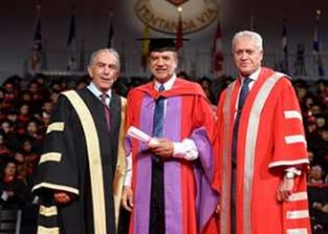 From left, York Chancellor Greg Sorbara, Roger Mahabir and York President and Vice-Chancellor Mamdouh Shoukri