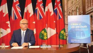 """Ontario Ombudsman Paul Dube speaking at the realese of his report """" A Matter of Life and Death at Queens Park"""