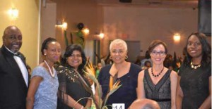 AT THE JCA GALA From Left to Right: Lloyd Wilks, Consul General, Adaoma Patterson, President, JCA, Janice Miller, High Commissioner, Mary Anne Chambers, former Ontario Minister, Senator, the Hon. Kamina Johnson-Smith and Ontario Minister of Education, Mitzie Hunter Gerald V. Paul photo