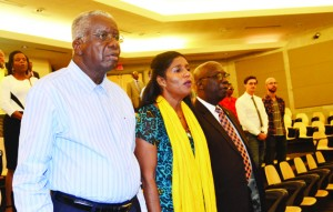 (Left to Right) Stuart, with Ministers Esther Byer Suckoo and Ronald Jones