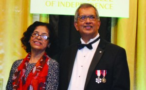 High Commissioner Clarissa Riehl and Co-Chair, Guyana 50th Independence Celebration, Winston Kassim,