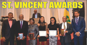 (From left) Fitzgerald Huggins,Consul General of St. Vincent and the Grenadines, Dr. R obert Suttton , Eldine Barnwell,  Reyanne Telfer, Princess Wyllie, Julian McIntosh  and  Economic Planning Minister Camillo Gonsalves.