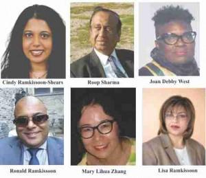 Cindy Ramkissoon-Shears, Roop Sharma, Joan Debby West,  Ronald Ramkissoon, Mary Lihua Zhang, Lisa Ramkissoon