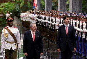 President Raul Castro welcomes Prime Minister Justice Trudeau to Cuba in a ceremony in Havana on Tuesday.