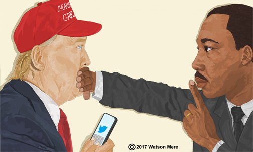 Haitian-American artist on his image of Martin Luther King and Donald Trump