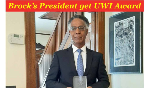 Brock President Gervan Fearon receives Vice-Chancellor's Award from University of the West Indies