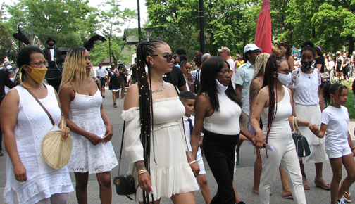 Hundreds took part in the 'Regis Korchinski-Paquet Walk for Justice' in Toronto on Saturday